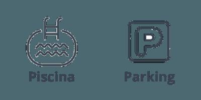 Piscina y parking del ático en Barcelona, de la calle Neptú