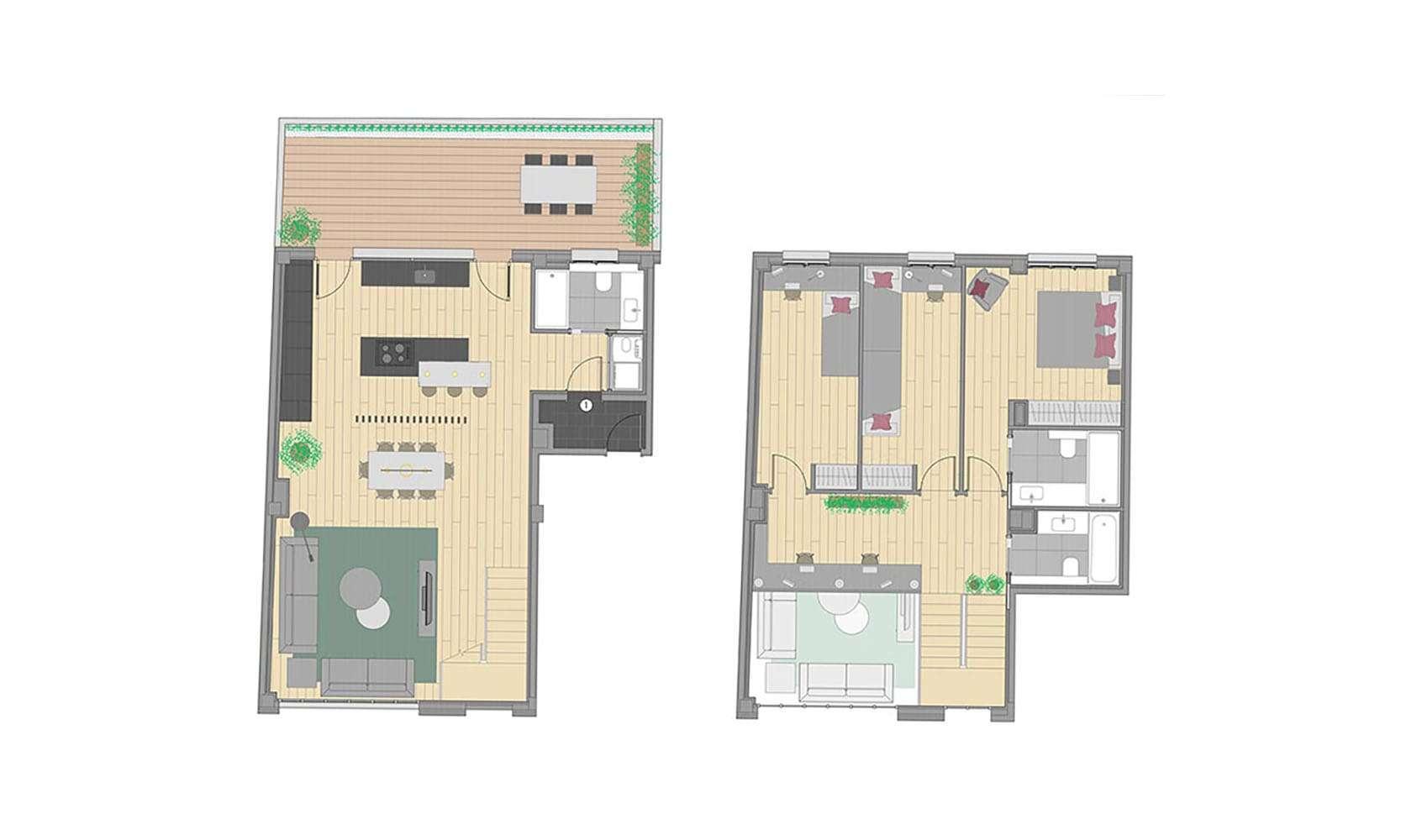 Plano 2 de la promoción de la calle Neptú, obra nueva Barcelona Gracia
